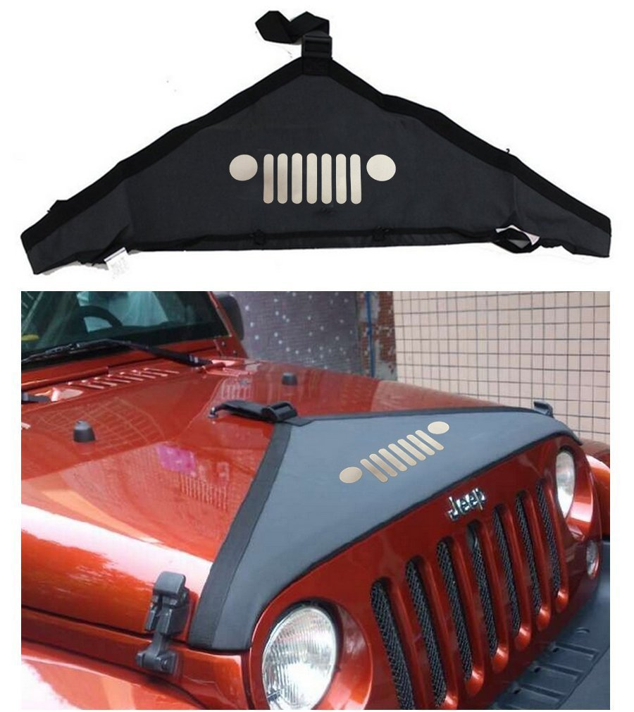 1 pc J116 Lantsun Hood Cover Front End Bra Cover T-Style Protector Kit for 2007-2016 Jeep Wrangler JK & Unlimited 2pcs metal black hood buckle catch lock latches hold down for wrangler jk unlimited 2007 2016