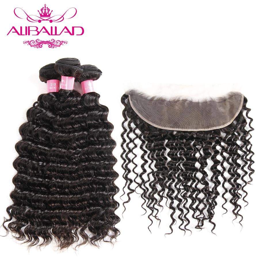 Aliballad Brazilian Deep Wave Bundles With Frontal 13 4Inch Lace Frontal Closure Nonremy Human Hair Bundles
