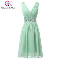 Real Picture Chiffon Mint Green Short Bridesmaid Dresses Knee Length V Neck Prom Party Dress Beaded