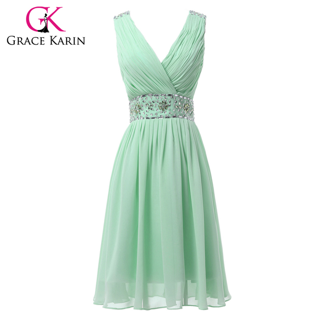 cdbf3f4c6b77 Grace Karin Real Picture Chiffon Mint Green Short Bridesmaid Dresses Knee  Length V-Neck Prom Party Dress Beaded and Sequins