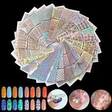 6/12/18/24Pcs Nail Art Laser Hollow Transfer Foil Sticker Stencil French Gel Polish Tips 3D DIY Image Guide Template Stamp Decal