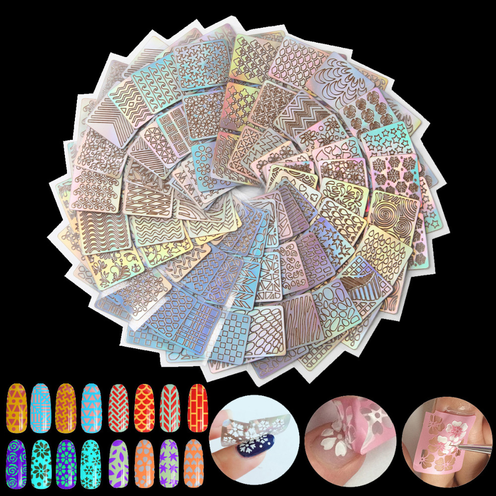 6/12/18/24Pcs Nail Art Hollow Laser Transfer Foil Sticker Stencil French Gel Polish Tips 3D Image DIY Guide Template Stamp Decal any hollow out nail template stickers laser star wheel triangle pattern nail sticker designs nail art