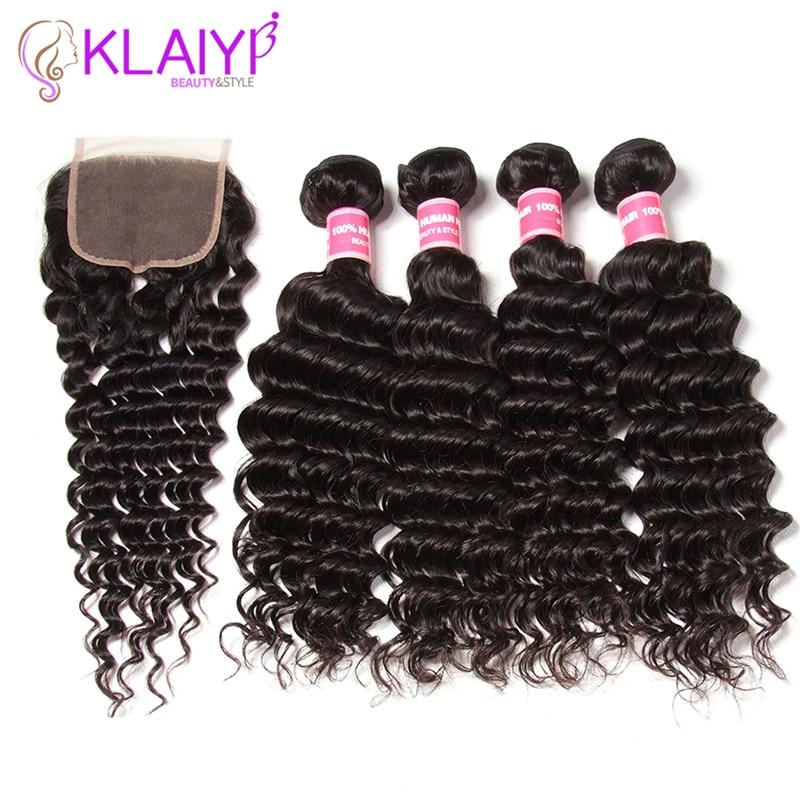 Klaiyi Hair Products Indian Human Hair Bundles With Closure Deep Wave Bundles Remy Hair Weave 4 bundles with closure 4x4 inch