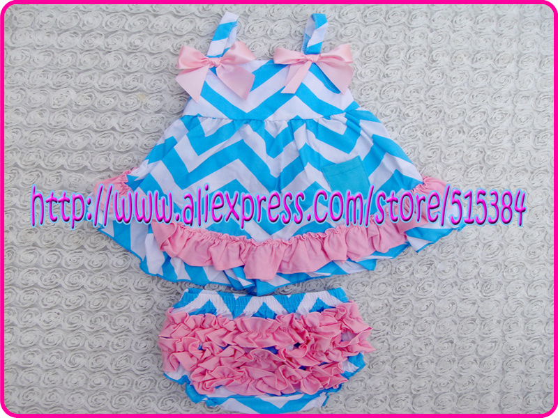e51e0b6d646da blue chevron cotton swing top set cute baby girls clothing set Christmas  baby outfit ruffle bloomer set 3sets lot free shipping