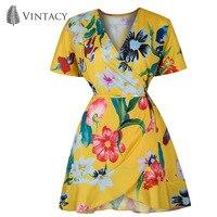 Vintacy Ruffle Boho Floral Dress Women V Neck Short Sexy Dress Summer Beach Short Sleeve Yellow