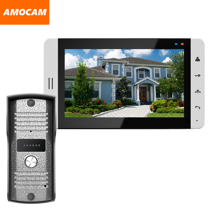 Wired 7 Video Door Phone Intercom System Doorbell Video Intercom Night Vision Villa Video Doorbell Intercom System For Home 7 inch video doorbell tft lcd hd screen wired video doorphone for villa one monitor with one metal outdoor unit night vision