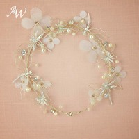 AW Light Gold Headband Tiara Flower Halo Bridal Headpieces Hair Vine Women Head Pieces For Party