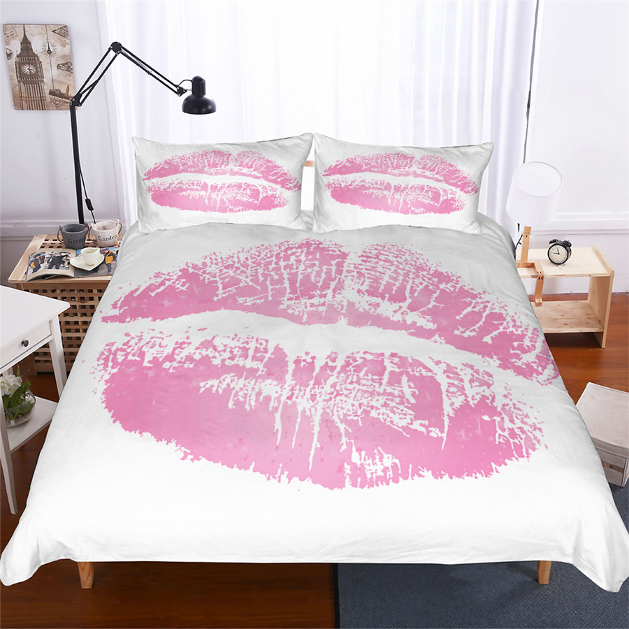 Bedding Set 3D Printed Duvet Cover Bed Set Mouth Home Textiles for Adults Lifelike Bedclothes with Pillowcase #ZUI02-in Bedding Sets from Home & Garden