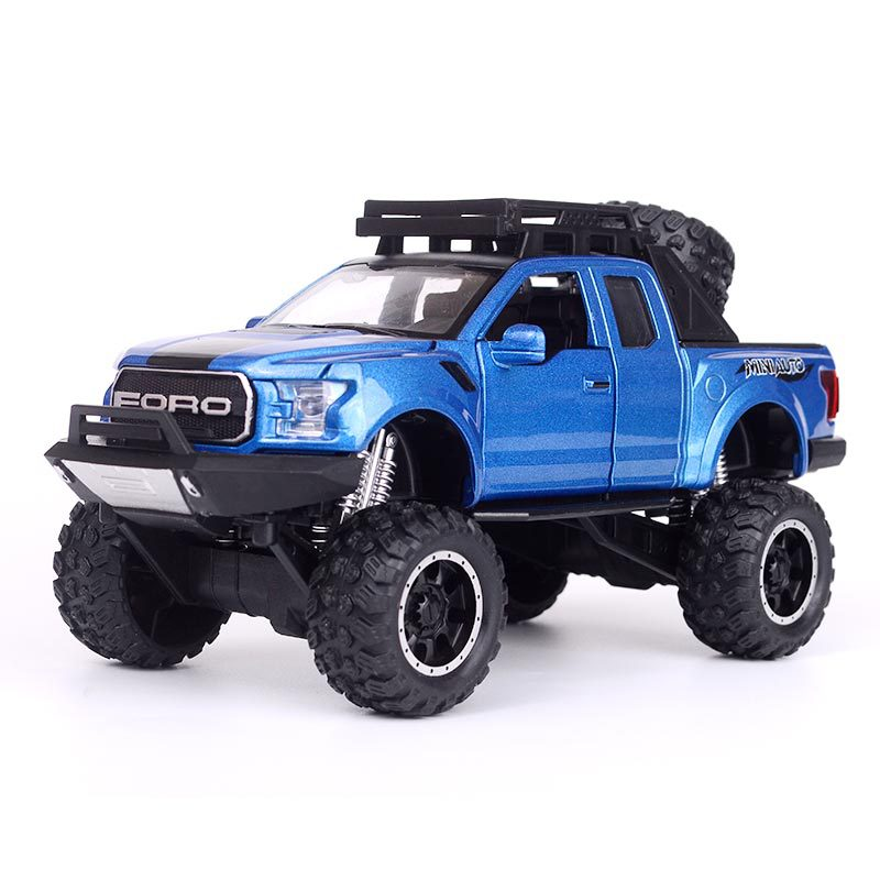 Simulation Raptor F150 off-road alloy vehicle model <font><b>Electronic</b></font> <font><b>toy</b></font> with Simulation lights Music Model <font><b>Car</b></font> <font><b>Toy</b></font> For kids gift 1:32 image