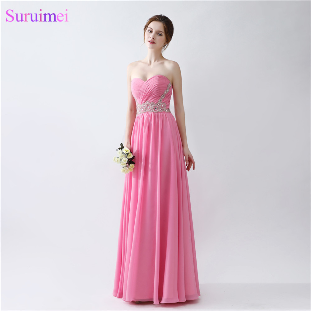 Hot Pink   Evening     Dresses   Beaded Sash Sweetheart Floor Length Chiffon Long   Evening   GOown