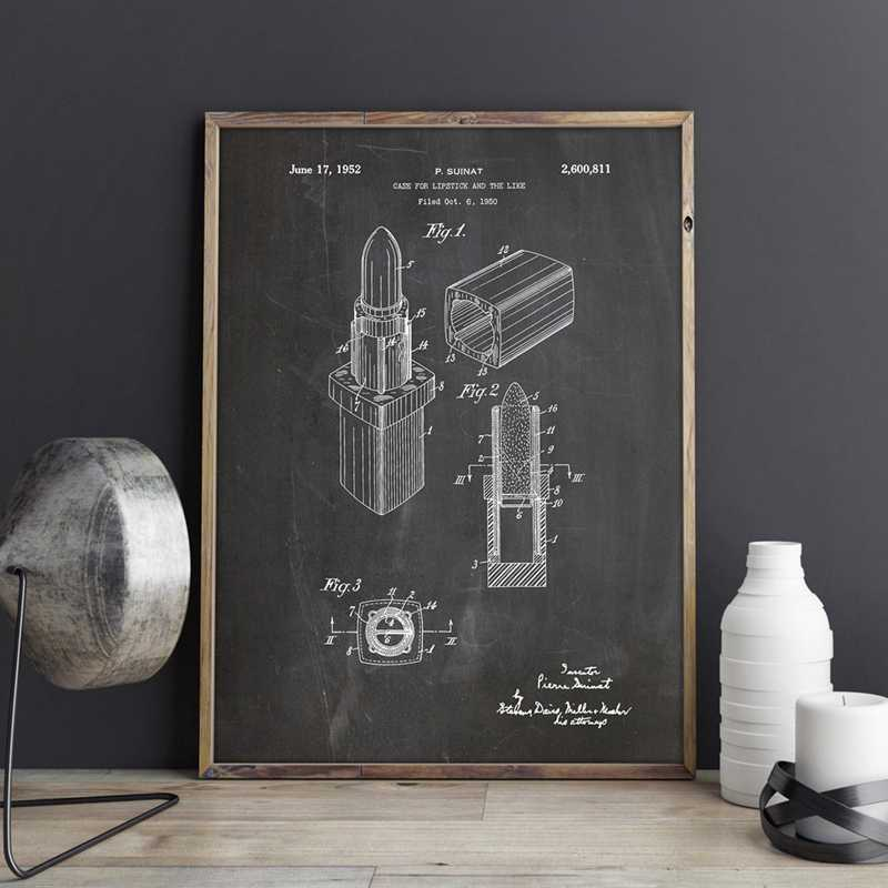 Lipstick Patent Poster Makeup Prints Bathroom Wall Art Canvas Painting Picture Home Decor Vintage Blueprint Drawing Girls Gift