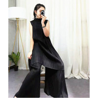 Changpleat 2019 сезон: весна–лето Новый Для женщин комплекты Miyak плиссированные Модные Большой Размеры водолазка сплошной большой эластичный жен