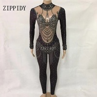 Fashion sexy Gray Sparkly Crystals Jumpsuit Women's Performance Dance Party Prom Nightclub Female Singer Show Stage