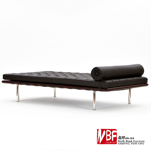 NBF North Shore Barcelona Bed Modern Continental Parlor Sofa Bed Rest  Minimalist Leather Chaise Lounge