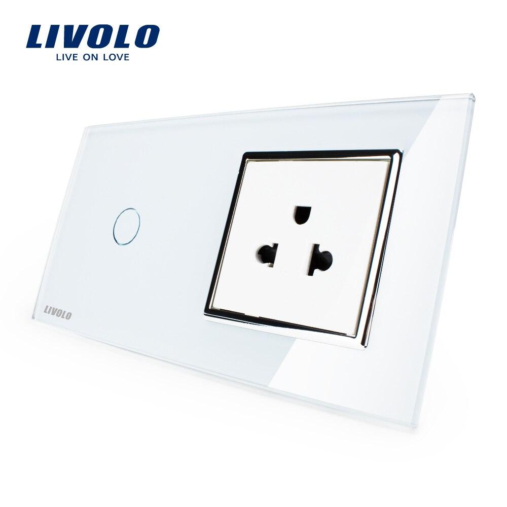 Interrupteur tactile Livolo et prise US, panneau en verre cristal blanc, prise murale 110 ~ 250 V 13A US avec interrupteur, VL-C701-11/VL-C7C1US-11