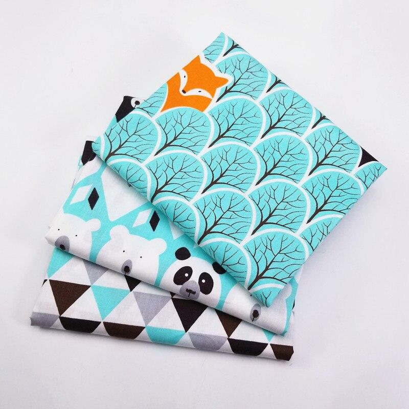 Детская хлопковая ткань зеленая серия ткань для вышивания кукол Связки ткань для Tela салфетка в стиле пэчворк детское постельное белье 3 шт./партия 50X40 см