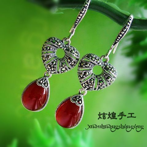 told silversmith manual S925 Sterling Silver Agate red corundum retro female earrings