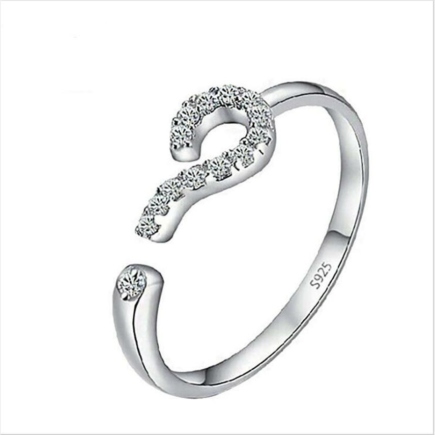 Direct simple fresh little white jewelry question mark ring opening adjustment ring female t0580