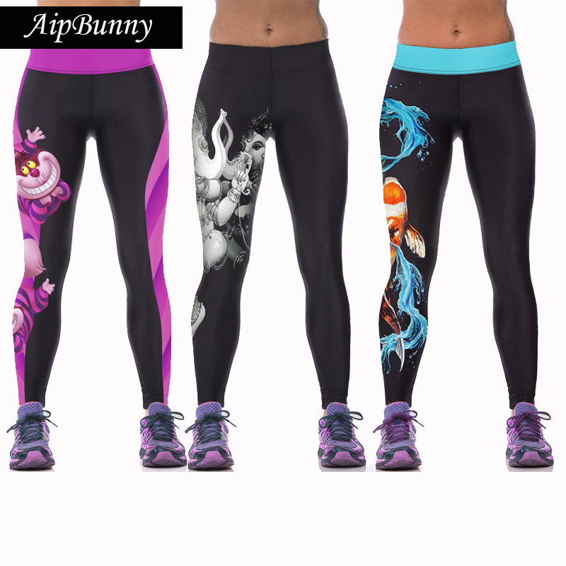 Aipbunny Slim Women Yoga Pants Print Sports Fitness Jogging Running Leggings Breathable High Elastic Tights Pants Gym Trousers