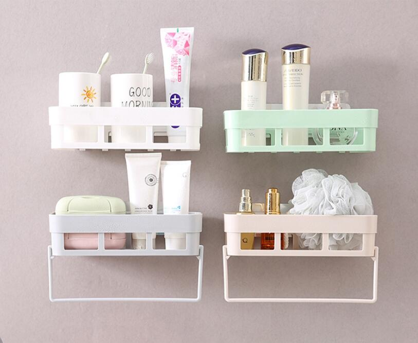 Kitchen Bathroom Rack with Towel Hanger Shampoo Shower Shelf Holder Storage Holder Organizer Bathroom Accessories Drop Shipping image