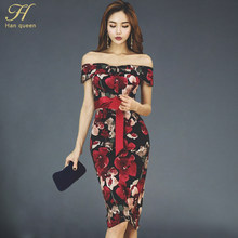 87148e8f622 H Хан queen 2018 Весна для женщин Элегантный Лук печатных ретро Bodycon  платья для сексуальная Slash