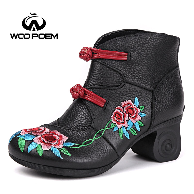 WooPoem Brand Winter Shoes Woman Genuine Leather Boots High Heel Ankle Boots Classic Retro Embroider Flowers Women Boots L888 woopoem 2017 spring shoes woman breathable genuine leather shoes high heel ankle boots for women hollow summer boots 7091