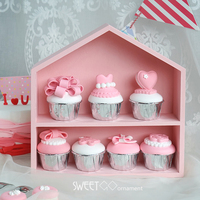 SWEETGO Wood House Ornament For Cupcake Push Cake Dessert Table Nordic Fores Wedding Props Tools Pink