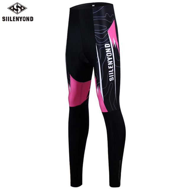 Siilenyond 2019 Women Winter Cycling Pants With 3D Gel Padded Shockproof Mountain Bike Cycling Tight Anti-slip Cycling Trousers