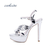 Glitter Rhinestone Thin Heels 13 cm Pumps Sexy Fashion Golden Silver Pumps Large Size 33cm-43cm Patent Leather Wedding Party