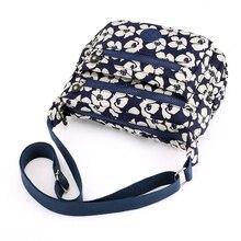 Alta qualidade durável náilon bolsa de ombro feminina moda floral padrão feminino bolsa multi bolsos meninas lazer saco do mensageiro