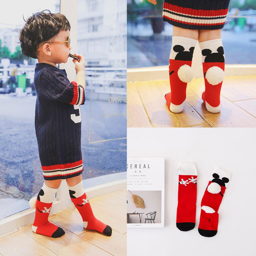 Soft Cotton Knee High Girls Boys Socks Long Children's Socks Cute Mouse Baby Girl Socks Kids Leg Warmers Meias Infantil