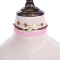 New 3 Pcs\Sets Beho Stripe Leather Lace Chokers Necklaces Cute Pendants Necklaces Sets Necklace for women Free Shipping