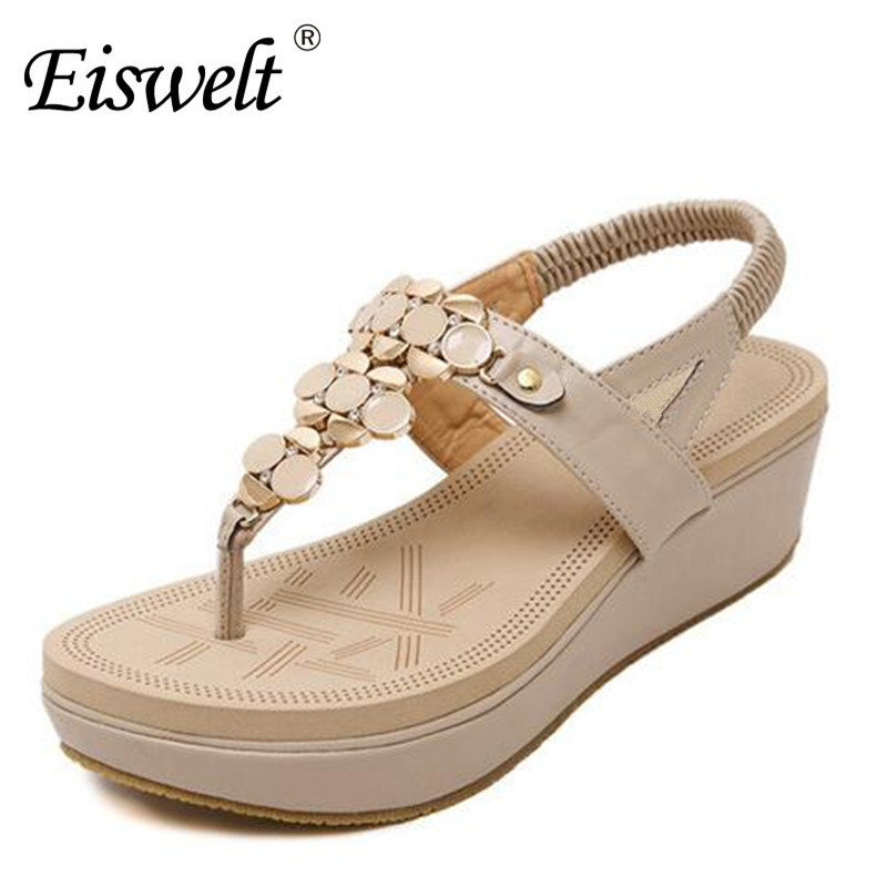 Eiswelt New 2017 Fashion Women Summer Shoes Platform Flip Flops Casual Wedge Open Toes Bohemian Sandals Madeleine Shoes#DZW51 phyanic 2017 gladiator sandals gold silver shoes woman summer platform wedges glitters creepers casual women shoes phy3323