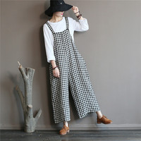 SCUWLINEN 2019 Spring Summer Women Pants Vintage Classic Plaid Long Linen Jumpsuits Loose Casual Bib Pants X01893