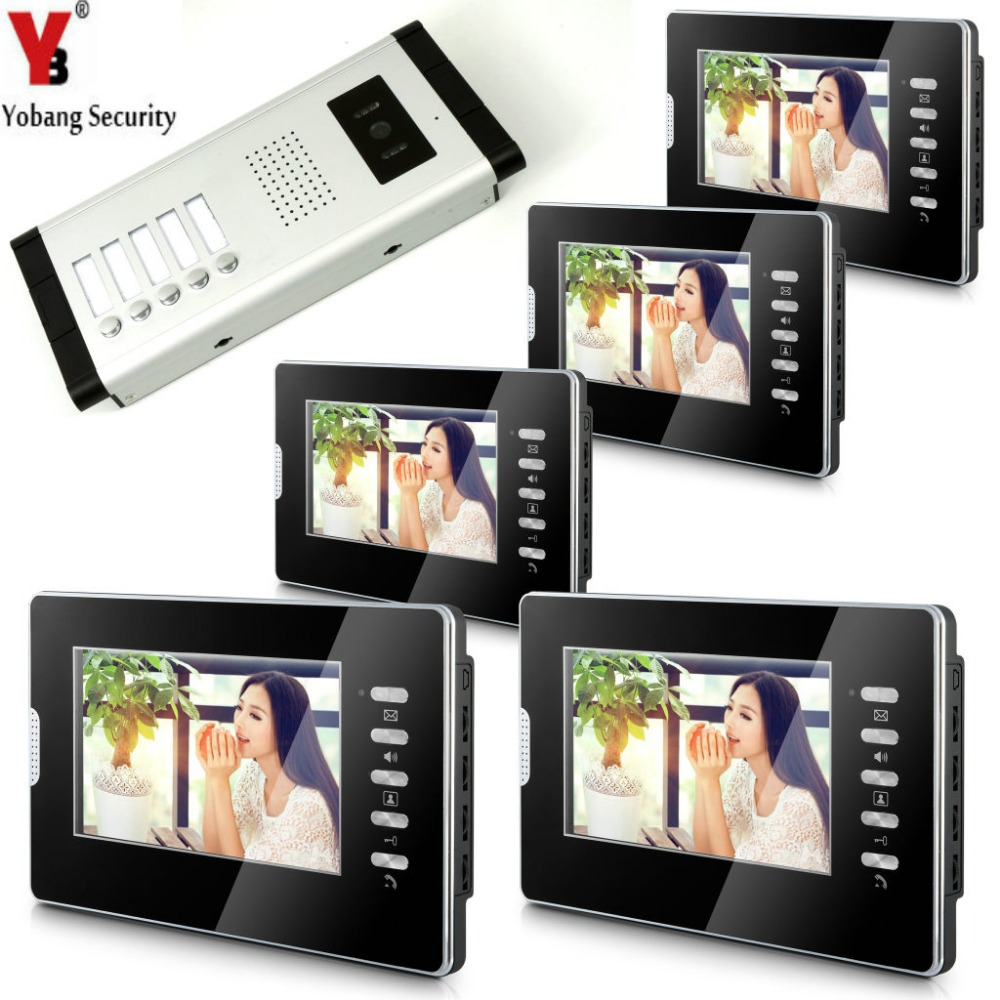 Yobang Security Video Doorbell Intercom 7'Inch Monitor Wired Video Door Phone Intercom Speakerphone System 1 Camera 5 Monitor jeatone 7 inch video door phone doorbell intercom with 600tvl outdoor camera ip65 on door video intercom security system 4 wired
