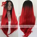 2016 Black Roots Ombre Red Wigs Hair Half Handmade Cosplay Wig Natural Silk Straight Synthetic Lace Front Wigs For Women