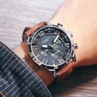 EYKI Multi function Men's Temperament Luxury Calendar 24 Hours Three Eyes Black Belt Watch 3068 Gifts for Men relogio masculino