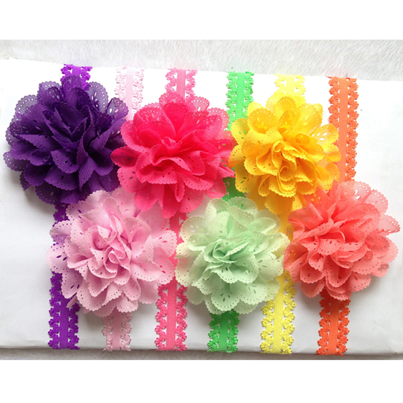 5 Star Promotion Infant toddler Baby Kids Flowers Eyelet chiffon hole lace flower headbands Hair Bands Photography props