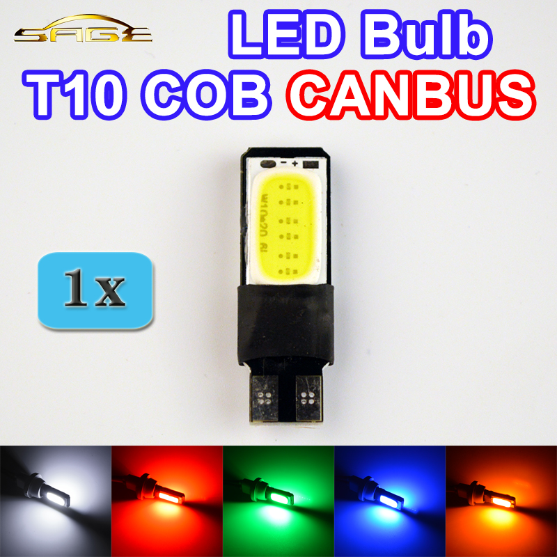 Flytop 1 x T10 COB CANBUS 194 W5W LED Error Free Car Light Automotive CAN BUS Lamp Bulb Color White Red Green Blue Yellow