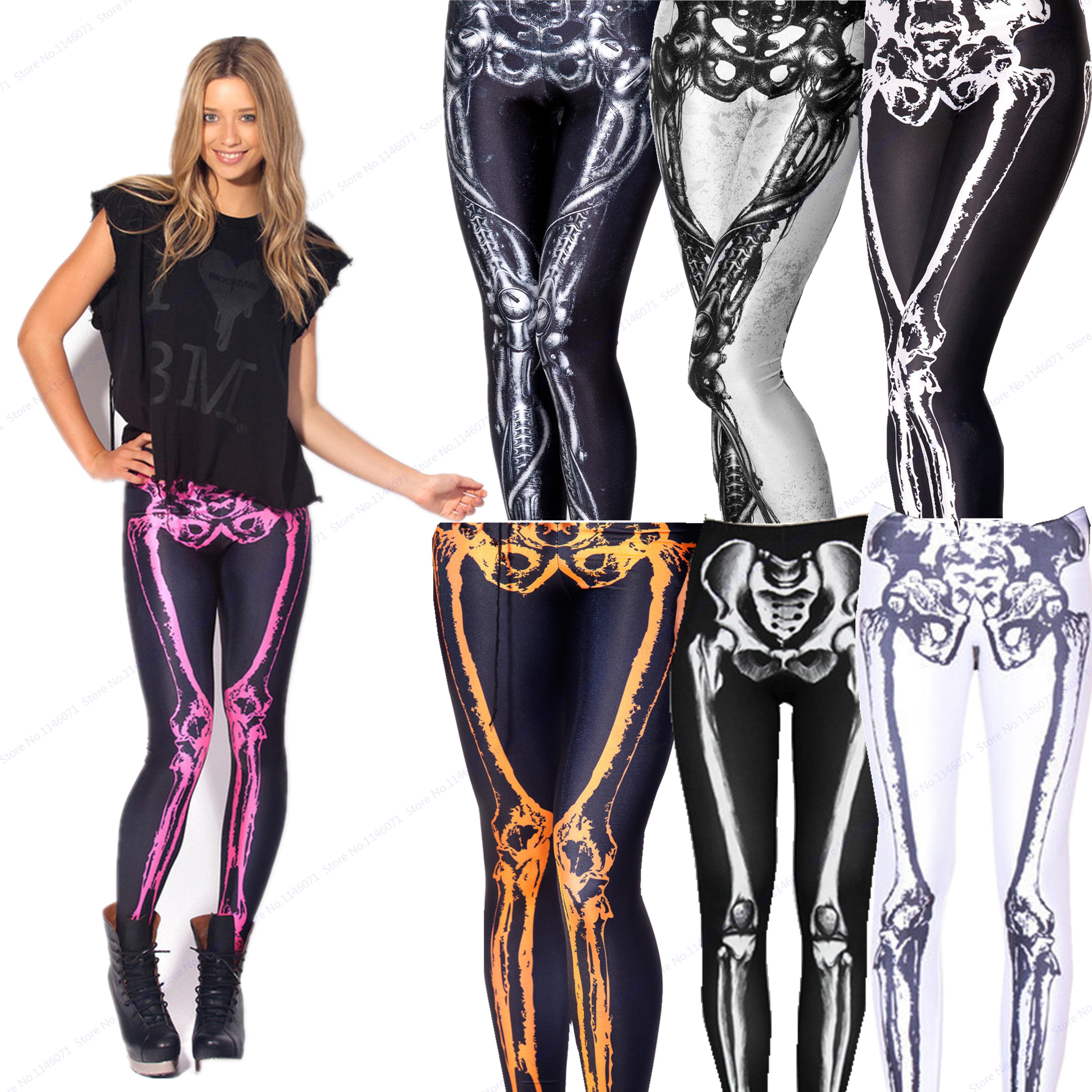 6f8529182d The Pelvis Skeleton Yoga Trouser Gold White Black Skull Bones Jeggings  Compression Leggings Women Skinny Pencil Pants High Waist