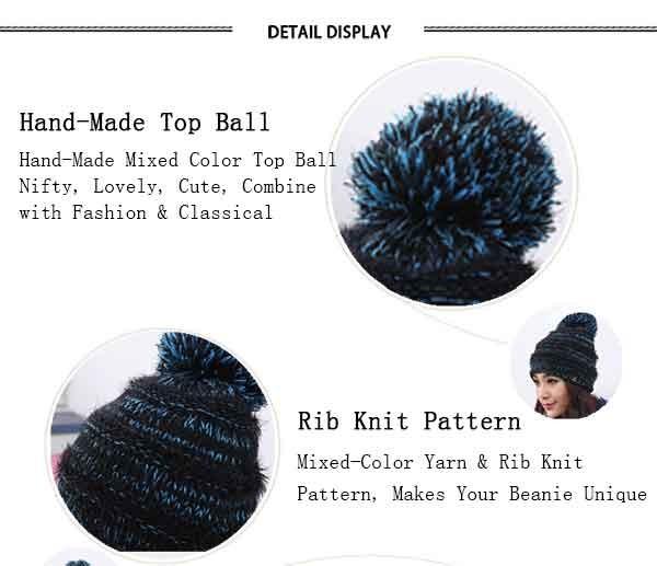 Women\'s Faux Fur Pom Pom Fleece Lined Knitted Slouchy Beanie Hat (10)