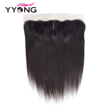 Yyong cabelo brasileiro em linha reta rendas frontal encerramento 13*4 orelha a orelha livre/meio/três parte fechamento do laço suíço remy frete grátis