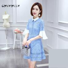 Large Size Women 2017 Summer Dress Polo Collar Lace Loose Thin Dress Elegant Xl-5xl Office Dress Charming Lovely Big Size D187