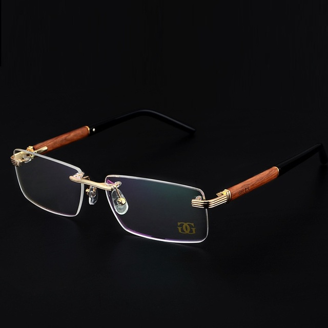 8bdf24d2cba Vazrobe Brand Gold Wood Glasses Men Metal Rimless Eyeglasses Frame male  spectacles for Prescription Myopia