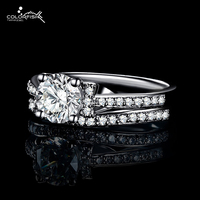 COLORFISH 1 0ct Round Cut Simulated Diamond Bridal Ring Set Love Eternity Ring Set 925 Sterling