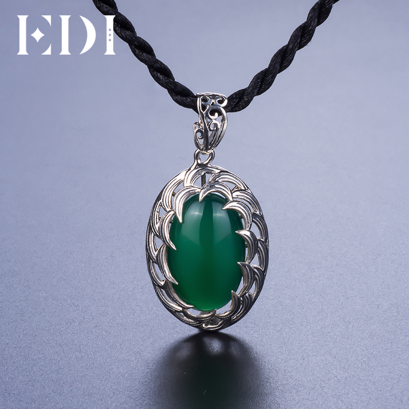Fine Jewelry Womens Green Emerald Sterling Silver Pendant Necklace