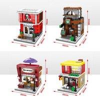 4pz Lot Sembo MOC Mini Street View Building Block McDonald Starbucks KEC Ice Cream Shop Compatible
