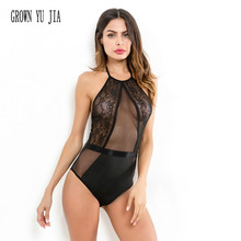 Sexy Women's Lace transparent halter Bodysuit Erotic babydoll teddy porno jumpsuit Hollowing out Backless catsuit Sexy romper low cut lace halter backless teddy