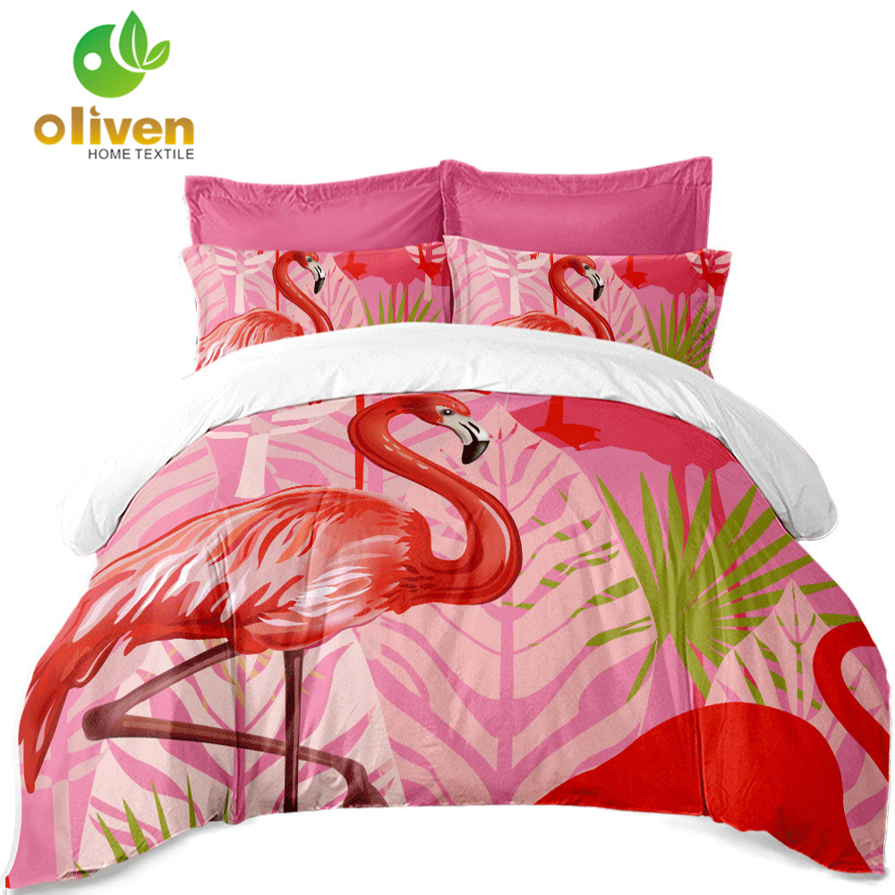 Red Pink Flamingos Bedding Set Animal Print Duvet Cover King Queen Bed Linen Flat Sheet Pillow Case bedding outlet bed cover D30Red Pink Flamingos Bedding Set Animal Print Duvet Cover King Queen Bed Linen Flat Sheet Pillow Case bedding outlet bed cover D30