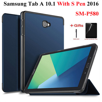 Smart PU Leather Case For Samsung Galaxy Tab A A6 With S Pen 10.1 2016 SM-P580 P585 Cover case+Film+Pen - discount item  30% OFF Tablet Accessories